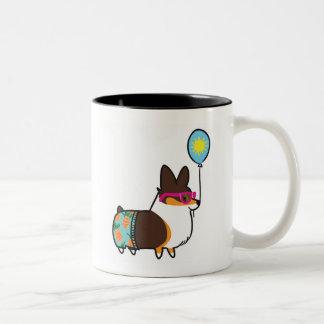 Tri-Color Corgi Summer Fun Mug   CorgiThings