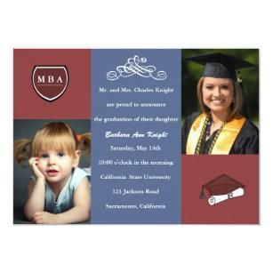 masters degree graduation invitations zazzle