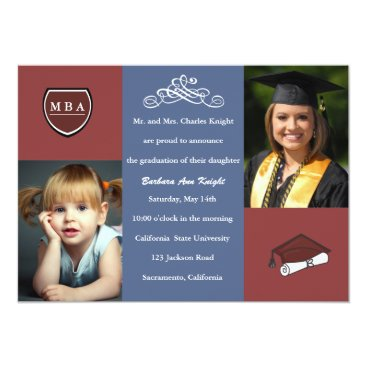 Professional Business Tri Color Graduation Invitation / Announcement