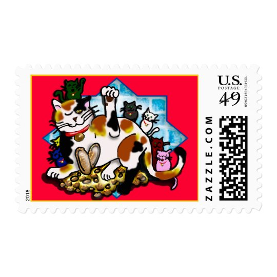 tri-color maneki neko w/ 7 kittens postage