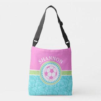 Tri-Color Pastel Soccer With Aqua Tiles Crossbody Bag