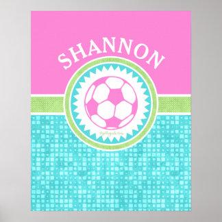 Tri-Color Pastel Soccer With Aqua Tiles Poster