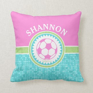 Tri-Color Pastel Soccer With Aqua Tiles Throw Pillow