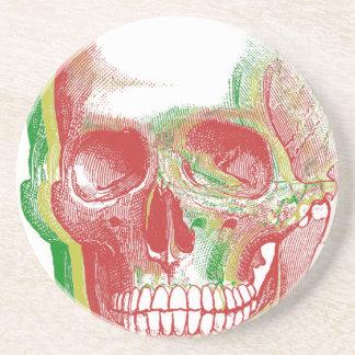 Tri-color Rasta Skull Drink Coaster