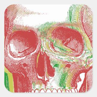 Tri-color Rasta Skull Square Sticker