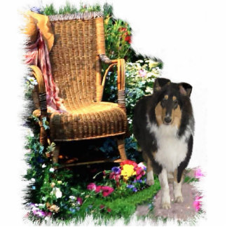 Tri-Color Rough Collie Art Gifts Standing Photo Sculpture