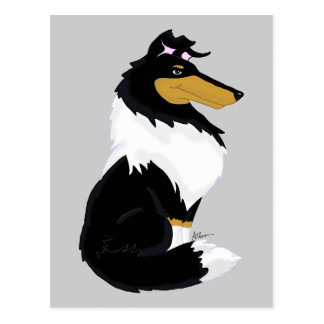 Tri-color Rough Collie Cartoon Postcard