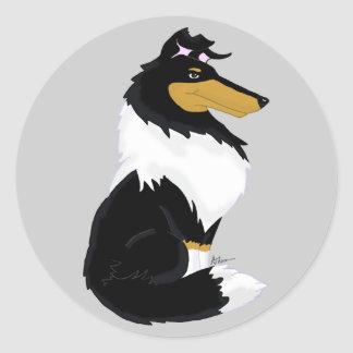 Tri-color Rough Collie Cartoon Sticker