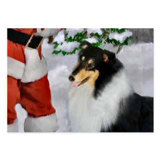 Tri-Color Rough Collie Christmas Gifts Large Business Card