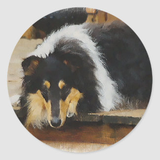 Tri Color  Rough Collie Gifts Art Classic Round Sticker