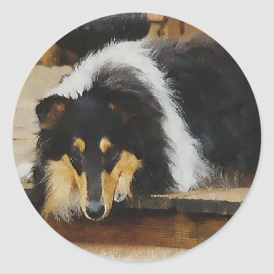 Tri-Color Rough Collie Gifts Classic Round Sticker