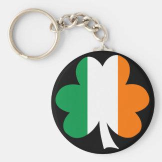 Tri-color Shamrock Basic Round Button Keychain