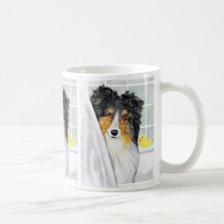 Tri Color Sheltie Bath Classic White Coffee Mug