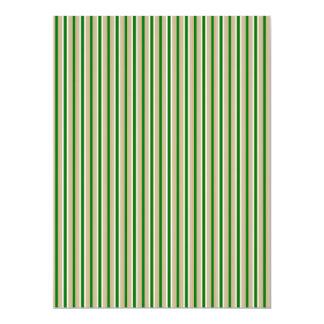 Tri-color Stripes in Christmas Green, Gold Silver Custom Invitation Cards