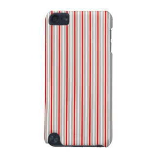 Tri-Color Stripes in Christmas Red Gold and Silver iPod Touch 5G Cover