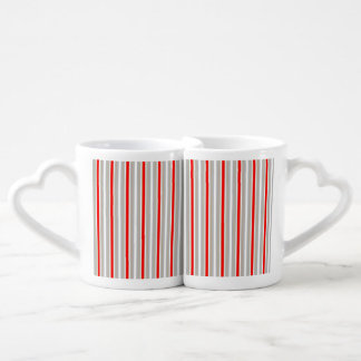 Tri-Color Stripes in Christmas Red Gold and Silver Couples Mug