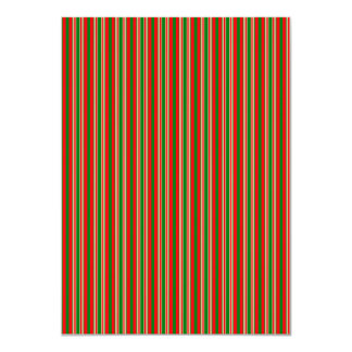 Tri-Color Stripes in Christmas Red, Green & Gold 4.5x6.25 Paper Invitation Card