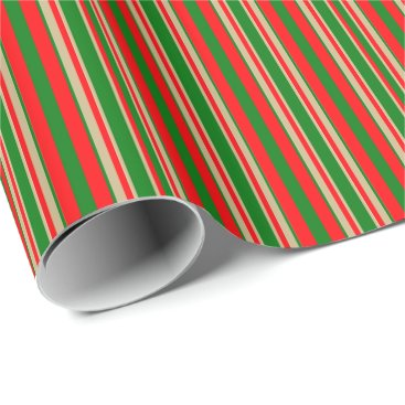 Aqua Tri-Color Stripes in Christmas Red, Green & Gold Wrapping Paper