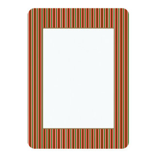 Tri-Color Stripes in Christmas Red, Green & White 4.5x6.25 Paper Invitation Card