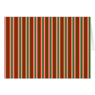 Tri-Color Stripes in Christmas Red, Green & White Card