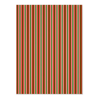 Tri-Color Stripes in Christmas Red, Green & White Announcement Cards