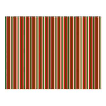 Disney Themed Tri-Color Stripes in Christmas Red, Green & White Postcard