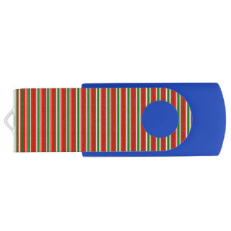 Tri-Color Stripes in Christmas Red, Green & White Swivel USB 2.0 Flash Drive
