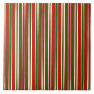 Tri-Color Stripes in Christmas Red, Green & White Ceramic Tile