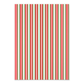 Tri-Color Stripes in Christmas Red, Silver & Green 4.5x6.25 Paper Invitation Card