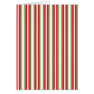 Tri-Color Stripes in Christmas Red, Silver & Green Card