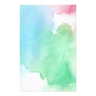 Tri Color Watercolor Pink Blue and Green Stationery
