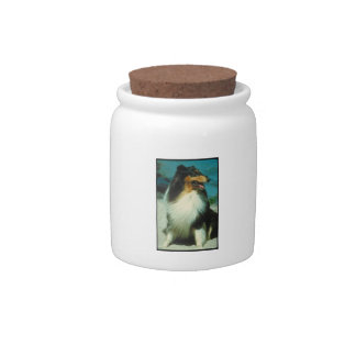 Tri-Colored Collie Dog Treat Candy Jar