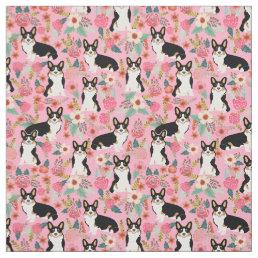 Tri Colored Corgi Floral Fabric - cute corgis