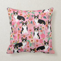 Tri Colored Corgi Floral pillow - cute corgi gift