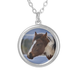 Tri-Colored Horse Silver Plated Necklace