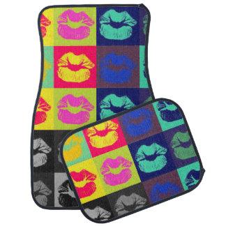 Tri colores de los labios descarados alfombrilla de auto