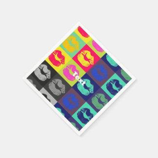 Tri colores de los labios descarados servilletas desechables