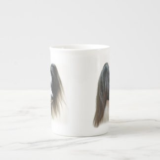 Tri-Colour Papillon Dog Tea Cup