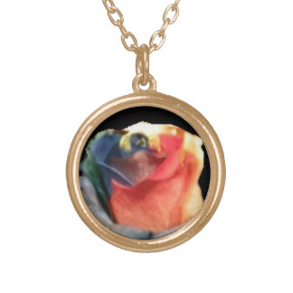 Tri-colour rose in gold tone pendant