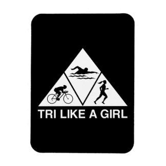 Tri como un chica rectangle magnet
