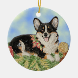 Tri-Corgi in Fall Foliage - Corgi Ornament