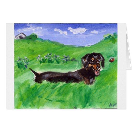 tri dachshund del color en campo tarjeta