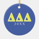 Tri Delta Yellow Letters Double-Sided Ceramic Round Christmas Ornament
