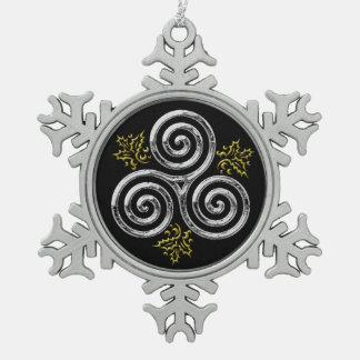 Tri Espiral de plata enmarcado plata - copo de Adorno De Peltre En Forma De Copo De Nieve
