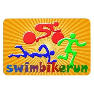 Tri figuras diseño del Triathlon Imanes De Vinilo