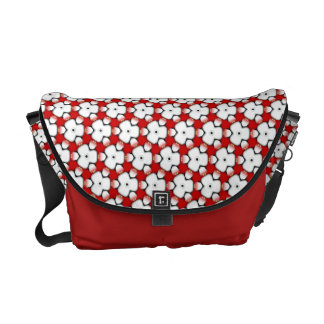 Tri Floral Red White Geometric Messenger Bag