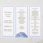 """Tri-fold, Blue Hydrangea Wedding Program<br><div class=""""desc"""">Tri-fold wedding program. Add your own text to the templates provided on this letterhead size (8.5 by 11 inch) linen paper. Each section has a blue border with one blue hydrangea flowers at the bottom of the middle section. Template text is dark green. Will fold into thirds accordion style. Reverse...</div>"""