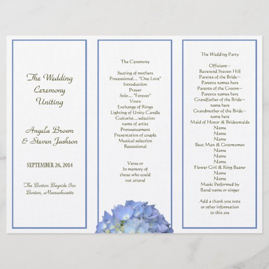 Tri Fold Blue Hydrangea Wedding Program Zazzle Com