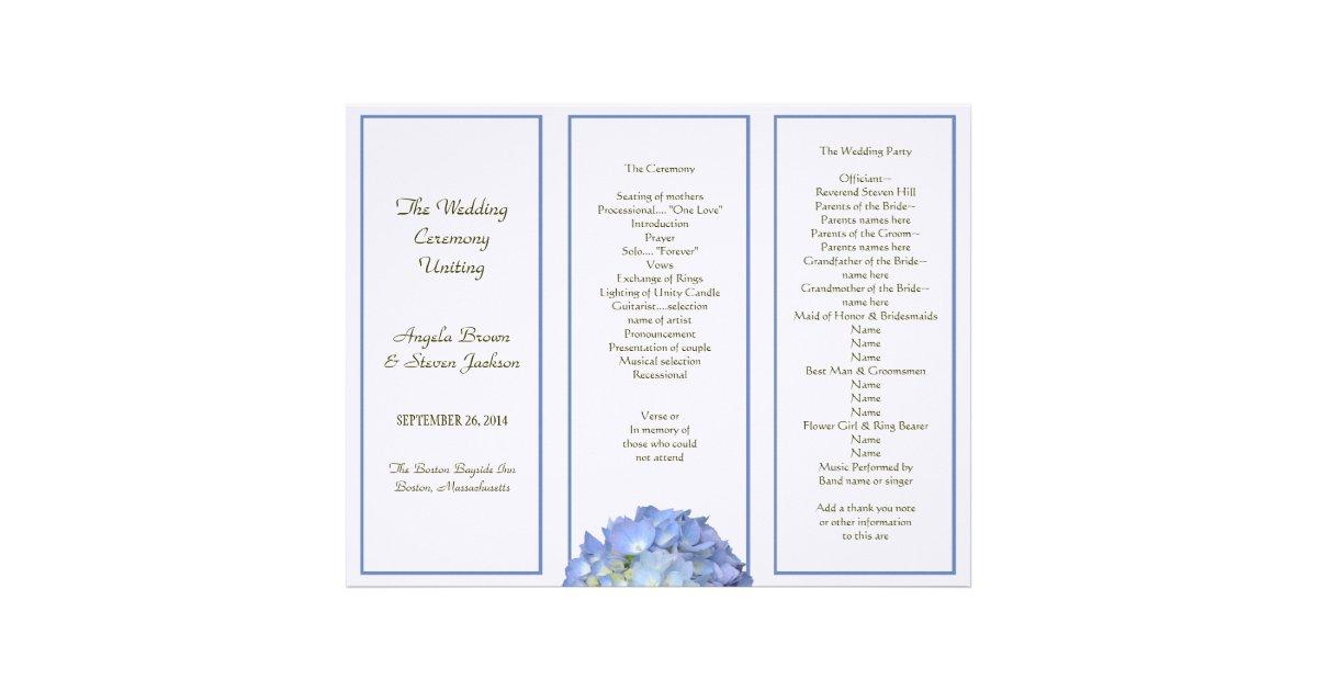 Tri Fold Blue Hydrangea Wedding Program Letterhead