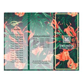 Tri-Fold Brochures Beauty Salon Floral Gold Frame